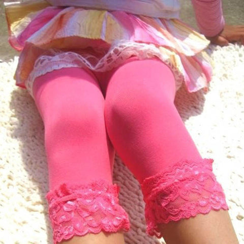 Candy Color Velvet Lace Children Girls Cotton Pants Leggings 18.5 inches long - Hespirides Gifts - 1