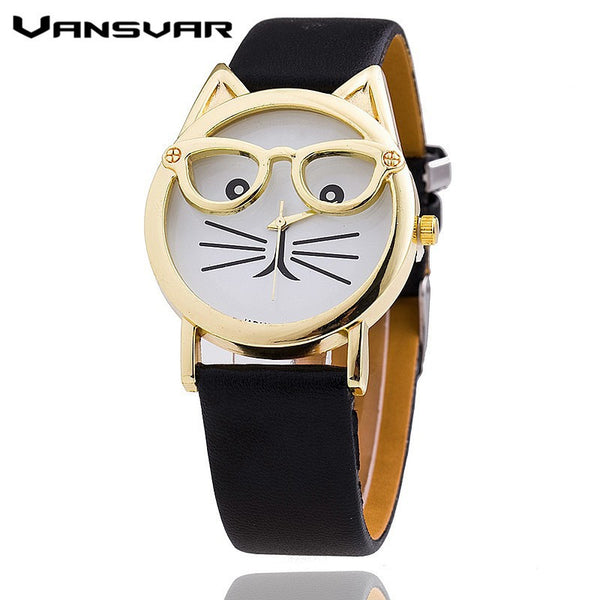 Vansvar Hot Sale Glasses Cat Watch Fashion Leather Strap Wrist Watch Women Quartz - Hespirides Gifts - 4