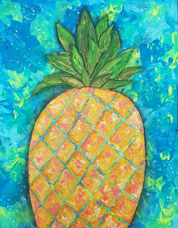 Pineapple Mixed Media Painting Inspired by Lilly Pulitzer