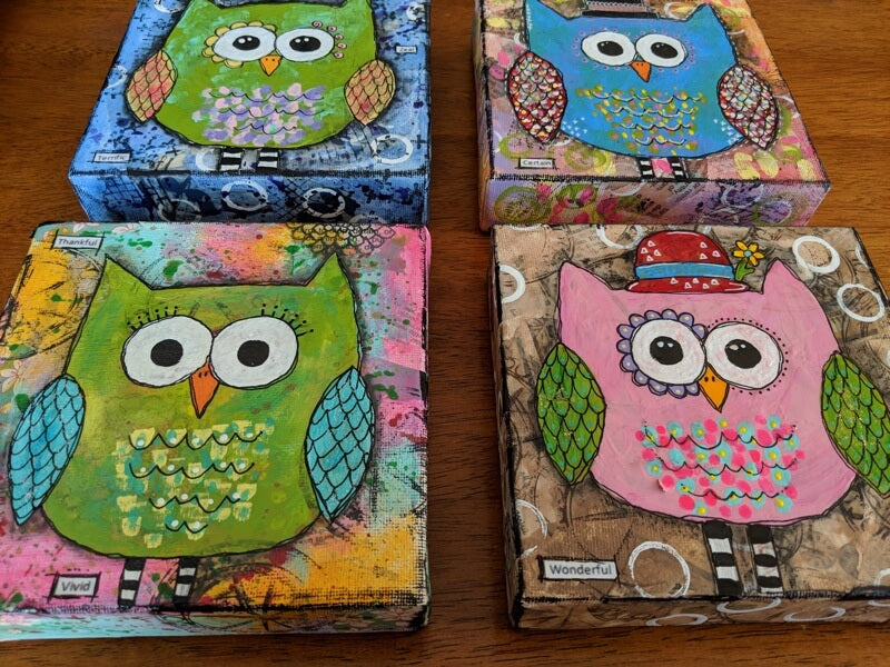 New Art! Mixed Media Owl Series