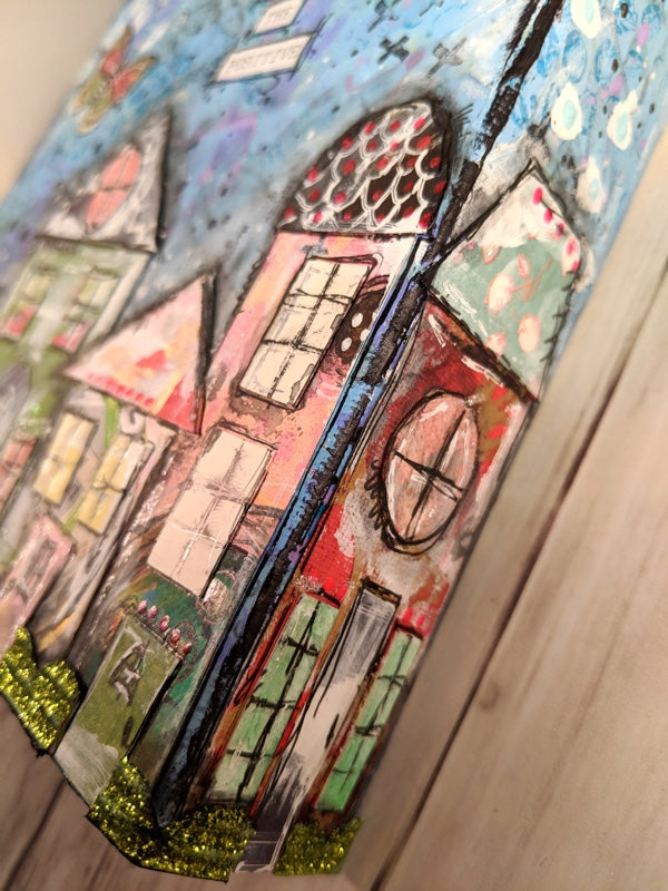 Video Project: Paper Pieced House Mixed Media Canvas