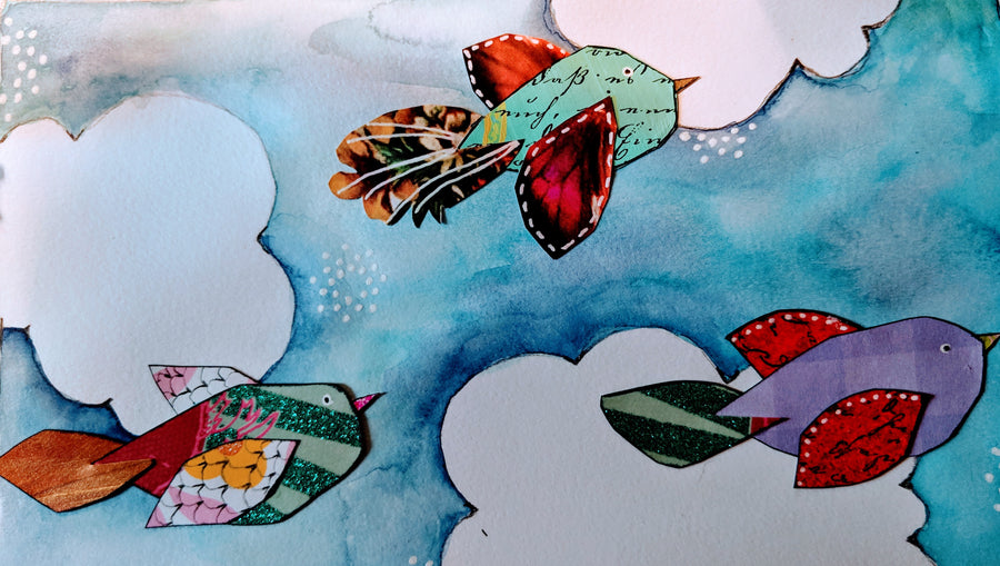 Scrap Paper Birdies on a Rainy Cloudy Cold Winter Day