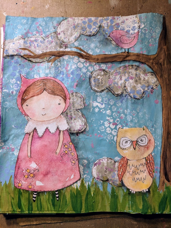 Create with Me: Junk Journal Page with Girl and Owl