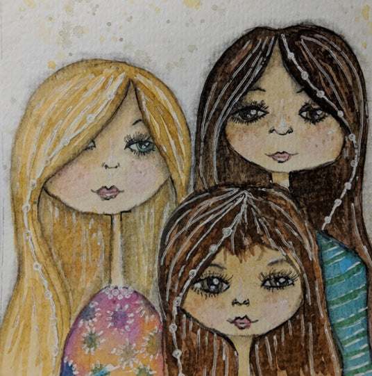 Watercolor Painting Practice: A Tiny Painting of My 3 Favorite Nieces