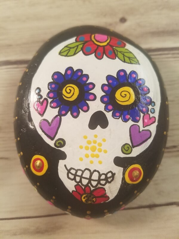 Day of the Dead Sugar Skull Hand Painted Rocks