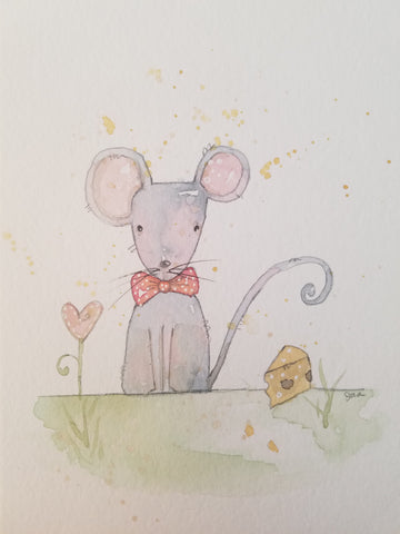watercolor mouse with cheese