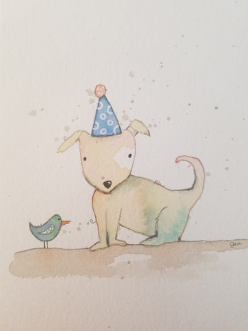 watercolor party dog and bird