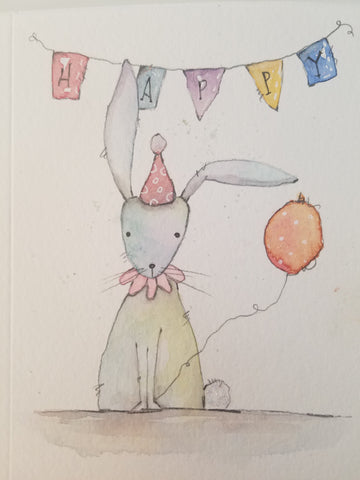 bunny watercolor birthday card