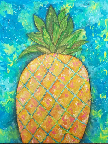 Mixed Media Pineapple painting on canvas