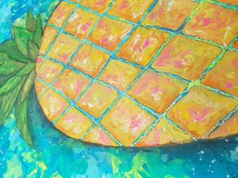 Close up of Lilly Pulitzer inspired pineapple mixed media painting