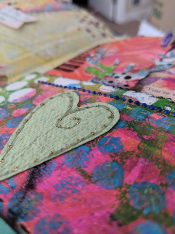 mixed media heart in art journal