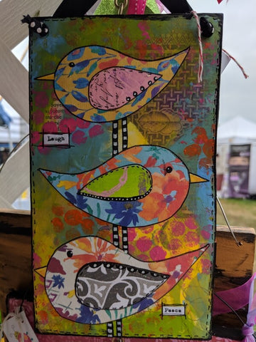 Mixed Media Collage Birds Sign