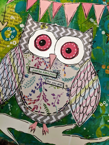 Junk journal mixed media owl