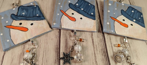 snowman ornaments with beads and charms new in my art shop
