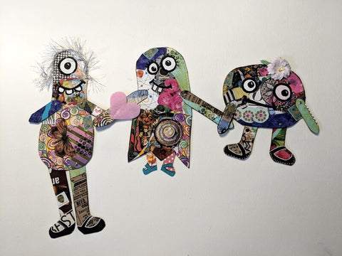 Scrap paper monster family