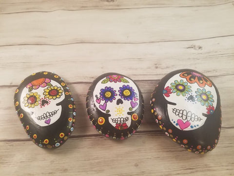 Calaveras Sugar Skulls Hand Painted Rocks