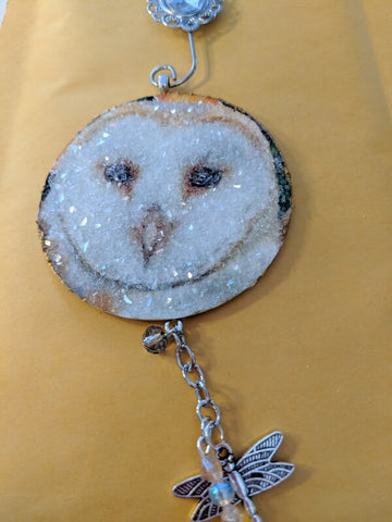 Handmade Owl Ornament with dragonfly and german glass glitter