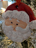 Ceramic Bisque Santa Ornament Hand Painted with Glitter Accents