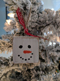 Snowman Block Christmas Ornament Hand Painted