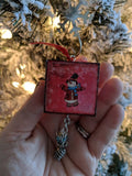 Wooden Snowman Ornament with Dangles and Charms (Pinecone)
