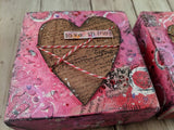 "Valentine's Day Mixed Media Heart Canvas ""Love Shines"""