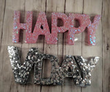"Pink Wooden ""Happy"" Word with Sequins"