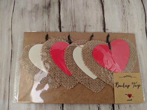 Valentine's Day Paper Gift Tags in Burlap (set of 4)