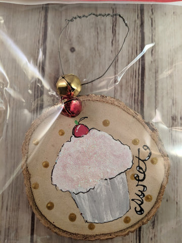 "Rustic Christmas Tree Ornament (Hand Painted Wood) - ""Sweet Cupcake"""