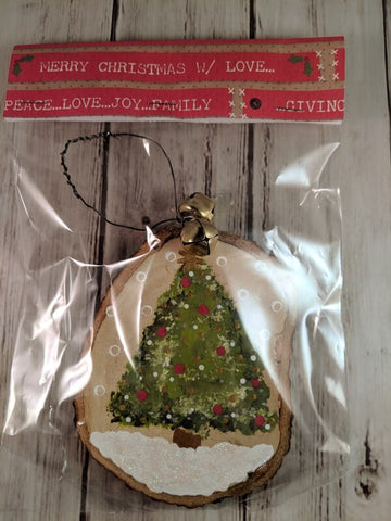 "Rustic Christmas Ornament (Hand Painted Wood) - ""Oh Christmas Tree"""