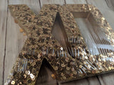"Gold Wooden ""XO"" Word with Sequins"