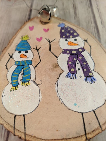 "Rustic Christmas Ornament (Hand Painted Wood) - ""Snowmen Couple"""