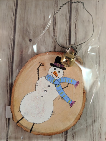 "Rustic Christmas Ornament (Hand Painted Wood) - ""Snowman with Blue Scarf"""