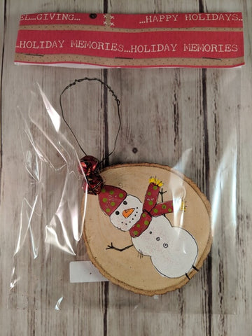 "Rustic Christmas Ornament (Hand Painted Wood) - ""Snowman with Red Scarf"""