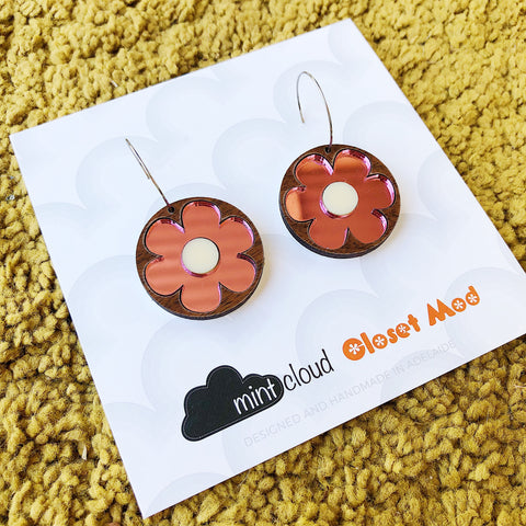 Closet Mod X Mintcloud Studio Earrings - Maple Wood & Pink Mirror Flower Dangles