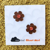 Closet Mod X Mintcloud Studio Earrings - Maple Wood & Pink Mirror Flower Studs