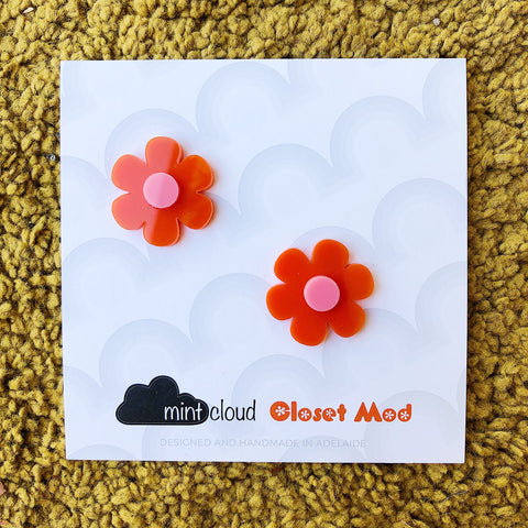 Closet Mod X Mintcloud Studio Earrings - Orange & Pink Flower Studs