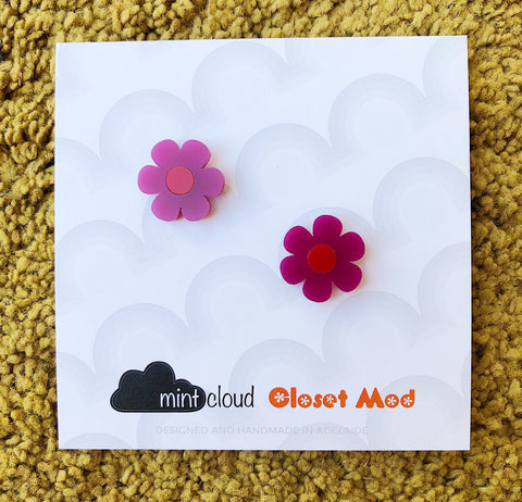 Closet Mod X Mintcloud Studio Earrings - Purple & Red Small Flower Studs