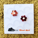 Closet Mod X Mintcloud Studio Earrings - Pink Mirror & White Small Flower Studs