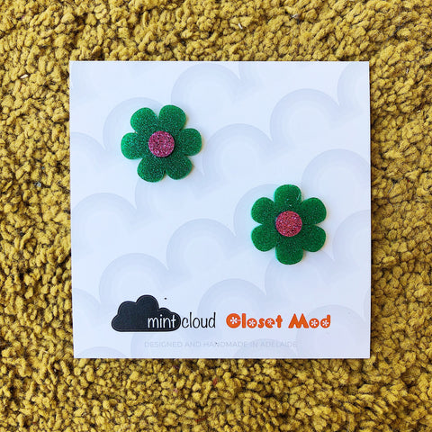 Closet Mod X Mintcloud Studio Earrings - Green & Purple Glitter Flower Studs