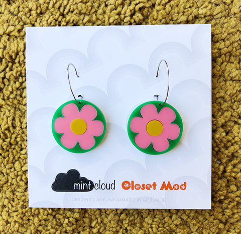 Closet Mod X Mintcloud Studio Earrings - Pink & Green Flower Dangles