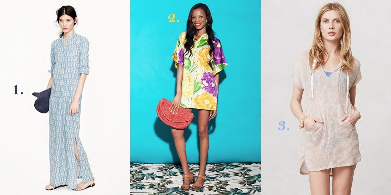 Our favorite beach cover ups are pictured here: a maxidress from J.Crew, Graff Surf Tunic and an Abemarle Hoodie.