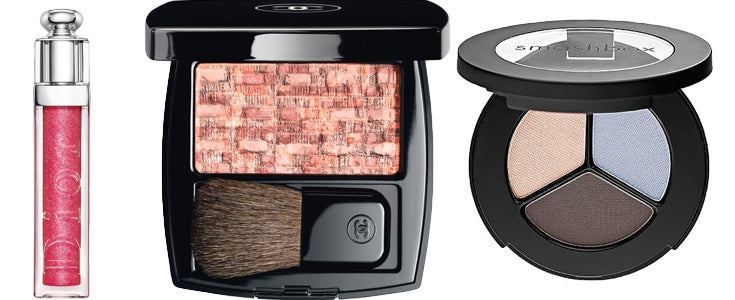 Dior lip gloss, Chanel blush and Smashbox eyeshadow all complement the new spring beauty trends.