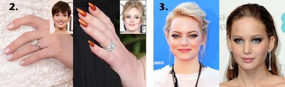 Anne Hathaway and Adele wear sparkly nail polish while Emma Stone and Jennifer Lawrence sport another of our favorite summer makeup trends -- the smokey eye.