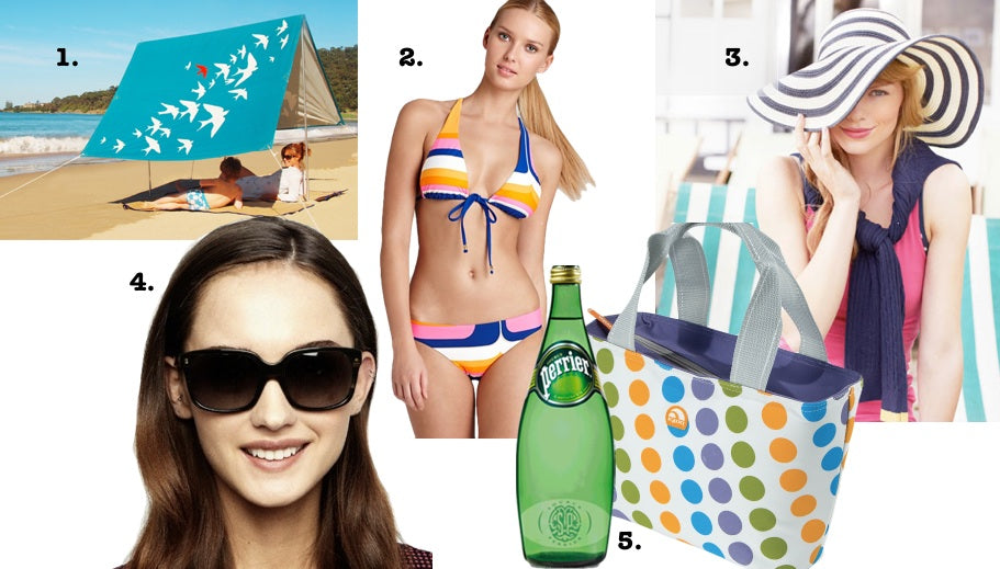 Five things to pack for an end of summer beach trip: a sombrilla, an extra bathing suit, a sun hat, sunglasses and water, all pictured.