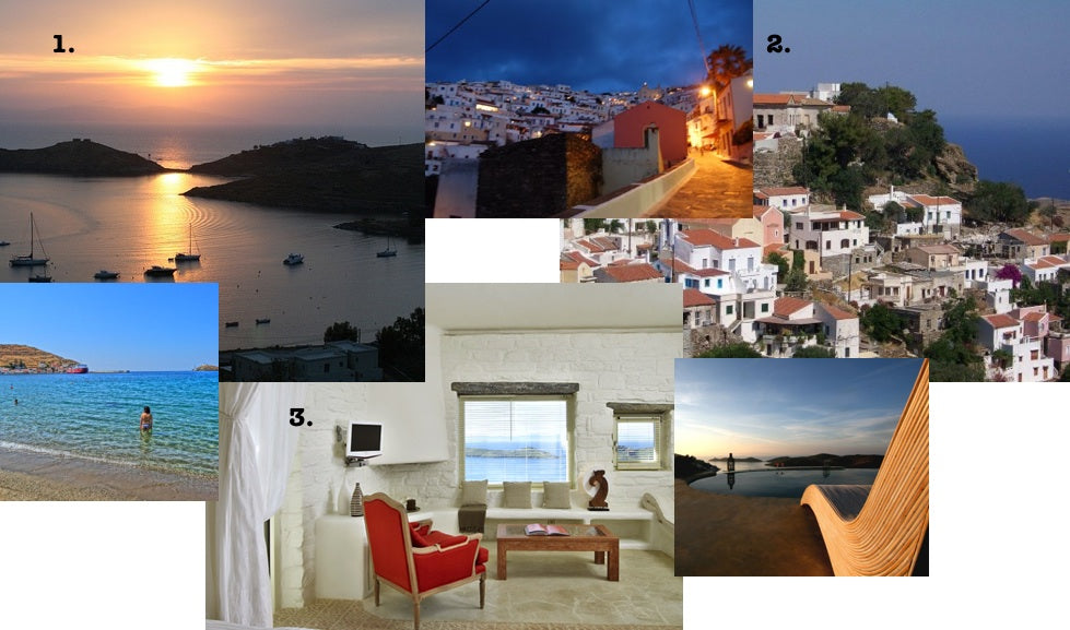 Several attractions around Kea Island in Greece include Otzias Beach (top left), Ioulis (top right) and Aigis Suites (bottom).