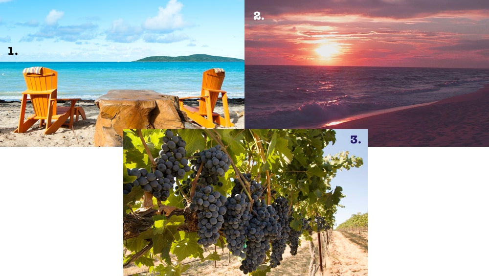 We're considering three destinations for our Labor Day Weekend Getaway: St. Croix (upper left), Martha's Vineyard (upper right) and Yakima Valley Wine Country (bottom)