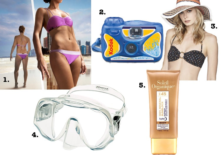 Pack a good, sporty swimsuit, a waterproof camera, a hat, a good diving mask and sunscreen for a scuba diving or snorkeling trip.