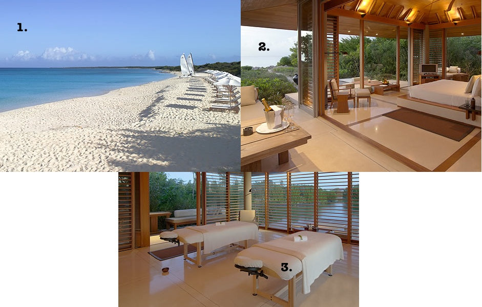Visiting resort and spa Amanyara, guests can enjoy white sand beaches, gorgeous ocean-front accommodations and the spa.