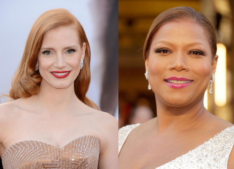 Jessica Chastain and Queen Latifah wear dramatic lip colors with their designer looks to the Oscars red carpet.