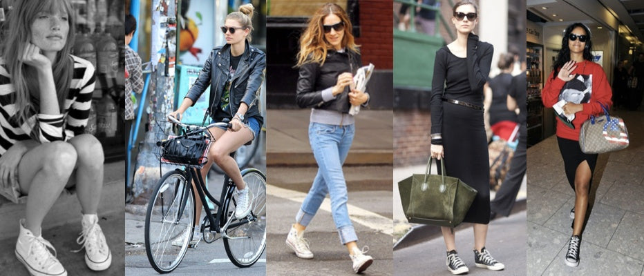 Several women, including Sarah Jessica Parker wear Converse high tops, Soleil Organique CEO Valerie McMurray's latest hot pick.